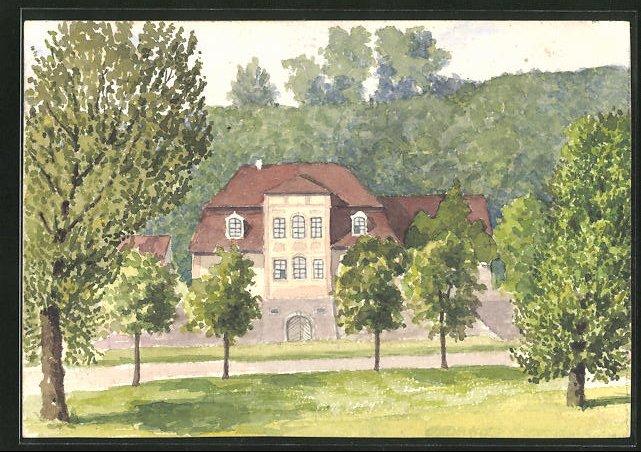 Künstler-AK Handgemalt: Halle / Saale-Dölau, Blick auf ein Gutshaus, Maler J. Walter, Halle a. d. Saale