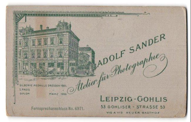 Fotografie Adolf Sander, Leipzig-Gohlis, Ansicht Leipzig-Gohlis, Atelier in der Gohliser Str. 53, rückseitig Portrait