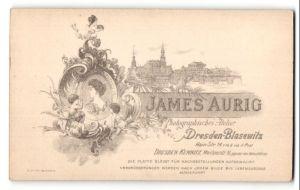 Fotografie James Aurig, Dresden-Blasewitz, Ansicht Blasewitz, Blick zur Dresdner Altstadt, rückseitig Portrait-Foto