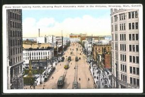 AK Winnipeg, Main Street looking North, showing Royal Alexandra Hotel in the distance