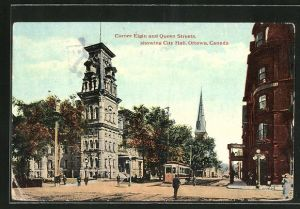 AK Ottawa, Corner Elgin and Queen Streets, showing City Hall