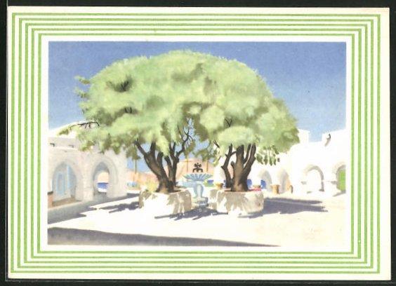 Künstler-AK Skala / Patmos, La Place, Platz im Sonnenlicht