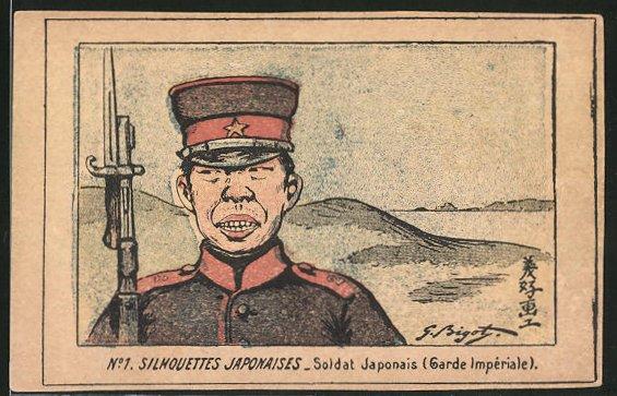 Künstler-AK Soldat Japonais (Garde Impériale), japanischer Soldat in Uniform
