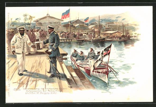 Künstler-AK Willy Stoewer: Port au Prince, Überweisung des Ultimatums an den Hafenkapitän am 6.12.1897