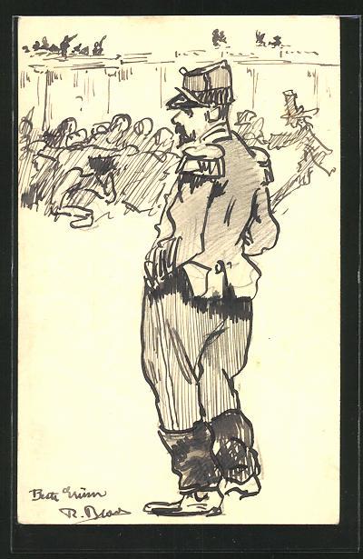 Künstler-AK Handgemalt: Portrait eines französischen Soldaten in Uniform