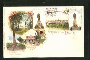Lithographie Düren, Krieger-Denkmal, Bahnhof, Bismarck-Denkmal, Kaiser-Denkmal, Stadtpark
