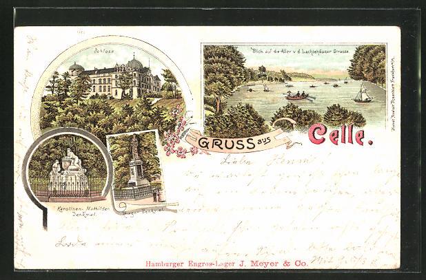 Lithographie Celle, Schloss, Karolinen-Mathilden Denkmal, Krieger-Denkmal, Schloss, Aller v. d. Lachtehäuser Strasse
