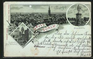 Mondschein-Lithographie Düren, Ortsansicht mit Kirche, Denkmal Fürst Bismarck und Denkmal Kaiser Wilhelm I.