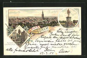 Lithographie Düren, Ortsansicht mit Kirche, Denkmal Kaiser Wilhelm I. und Denkmal Fürst Bismarck