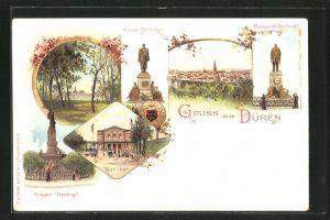 Lithographie Düren, Ortsansicht, Kaiser Denkmal, Bismarck Denkmal, Krieger Denkmal und Bahnhof