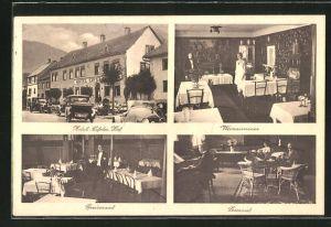 AK Heimbach / Eifel, Hotel Eifeler Hof mit Weinzimmer, Speisesaal und Lesesaal