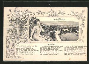 Passepartout-AK Hann.-Münden, Panorama, Weserlied und junge Dame mit Blumen