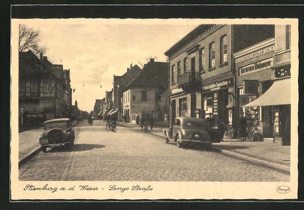 AK Nienburg a. d. Weser, Lange Strasse mit Norddeutscher Lloyd Vertretung von Hermann Wehmeyer