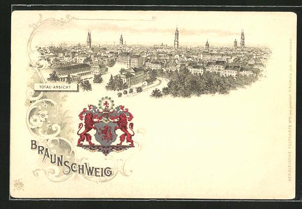 Lithographie Braunschweig, Panoramablick auf die Stadt