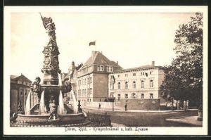 AK Düren / Rhld., Kriegerdenkmal und kath. Lyceum