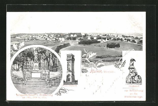 AK Halver i. Westf., Kriegerdenkmal z. Erinnerung an 1864, Denkmal zur Erinnerung an die Freiheitskriege, Aussichtsturm