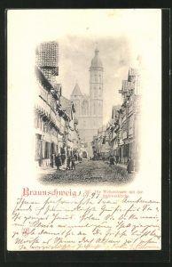 AK Braunschweig, die Weberstrasse mit der Andreaskirche