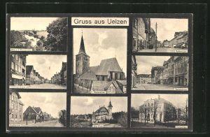 AK Uelzen, Blick v. d. Aussenmühle, Marienkirche, Gudesstrasse, Lüneburgerstrasse, Veerserstrasse, Hoeftstrasse