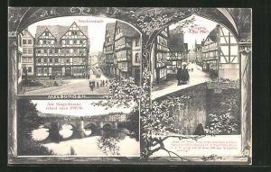 AK Melsungen a. Fulda, Brückenstrasse mit Fachwerkhäusern, Alte Bürgerbrücke, Eingang in die Stadt
