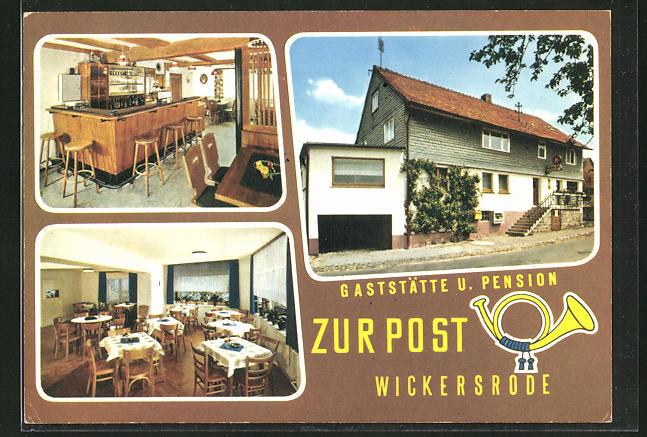 AK Wickersrode, drei Ansichten der Gaststätte und Pension