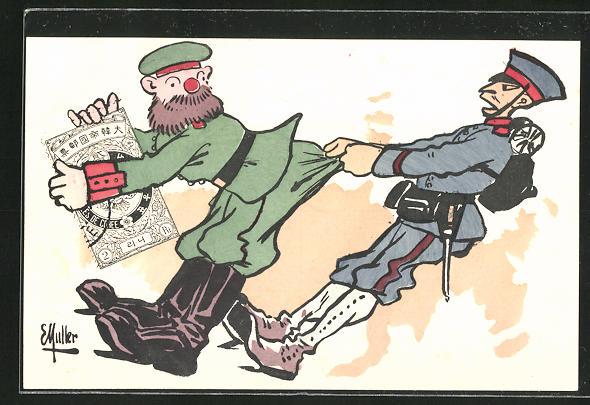 Künstler-AK Russisch-Japanischer Krieg, Japanischer Soldat zieht Russen am Hosenboden 0