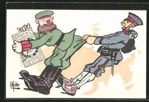 Künstler-AK Russisch-Japanischer Krieg, Japanischer Soldat zieht Russen am Hosenboden