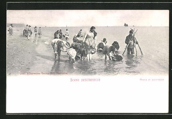 AK Scene pescherecce, Krebsfischer am Strand