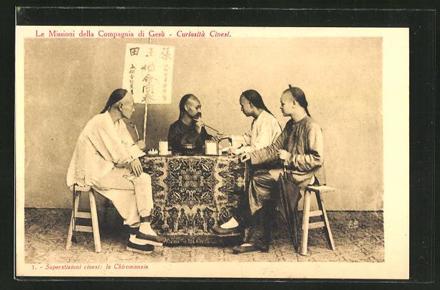 AK Superstizioni cinesi - la Chiromanzia, Hellseher, Handlesen