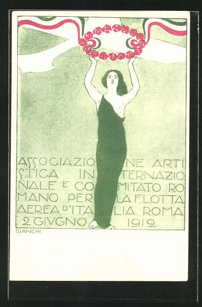 Künstler-AK Bianchi: Roma, Associazione Artistica INternazionale e Comitato Romano per la Flotta Aerea d'Italia 1912