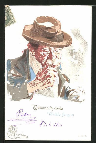Künstler-AK Terzi: Tabacco in corda, Vietato fumare, Alter Raucher