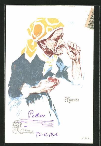 Künstler-AK Terzi: Macuba, Greisin nimmt eine Prise Schnupftabak