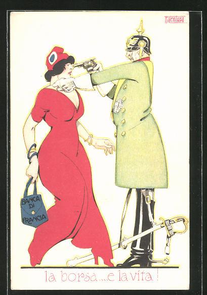 Künstler-AK sign. Ventura: Kaiser Wilhelm II. bedroht die Banca di Francia / Bank von Frankreich