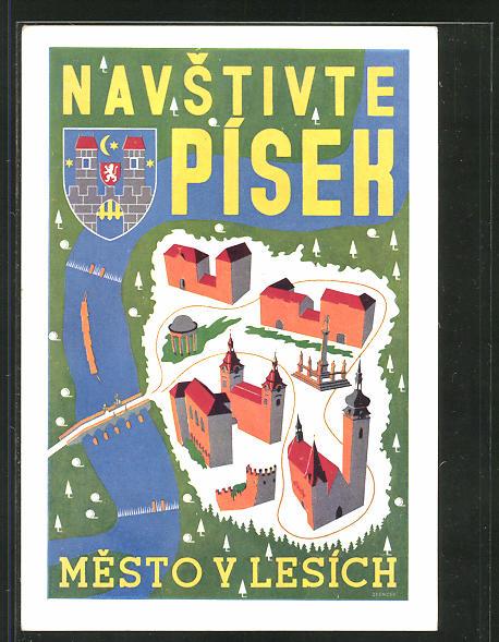 AK Pisek, Mesto V Lesích, Wappen, Tourismus
