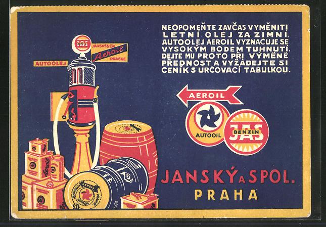 AK Reklame für KDE Auto TAM Aeroil Tankstelle Jansky a pol., Prag