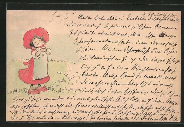 Künstler-AK Handgemalt: Mädchen im roten Kleid mit Hut auf einer Wiese