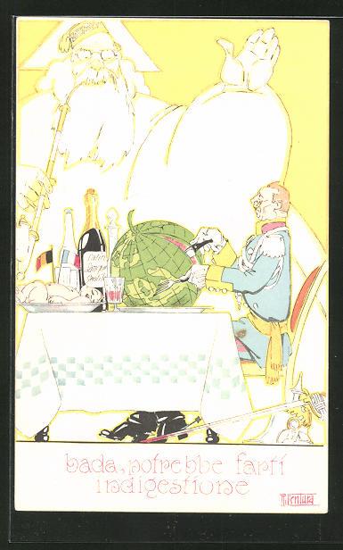 Künstler-AK sign. R. Ventura: Bada, potrebbe farti indigestione, Kaiser Wilhelm II., Karikatur