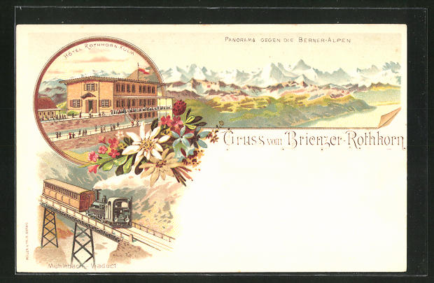 Lithographie Brienz, Hotel Rothorn-Kulm, Bergbahn am Mühlebach-Viaduct