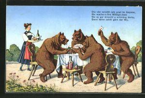 AK Bären beim Kartenspiel: