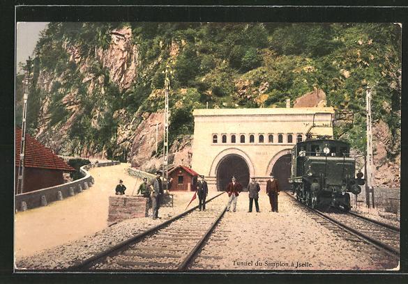 AK Iselle, Simplon-Tunnel-Einfahrt der schweizer Eisenbahn