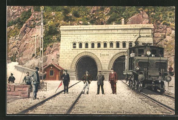 AK Iselle, Le Tunnel du Simplon, schweizer Eisenbahn