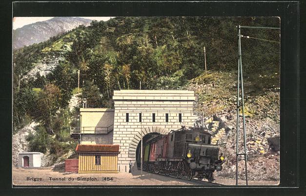 AK Brigue, Tunnel du Simplon, schweizer Eisenbahn