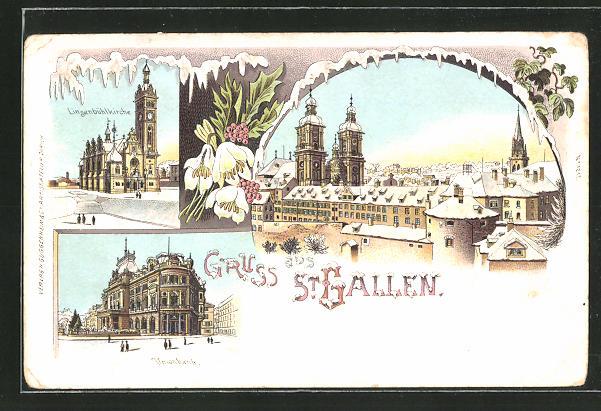 Winter-Lithographie St. Gallen, Ortspartie mit Basilika, Linsenbühlkirche, Unionbank