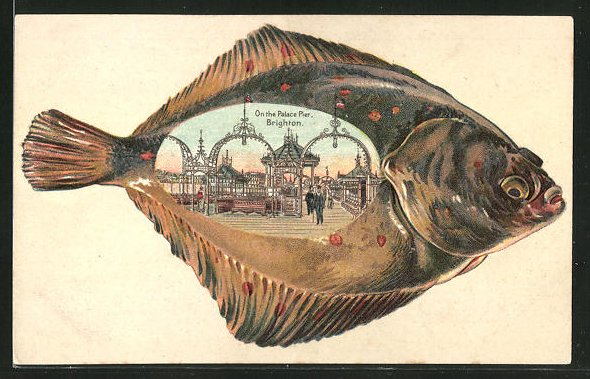 Passepartout-Lithographie Brighton, On the Palace Pier, Fisch-Rahmung