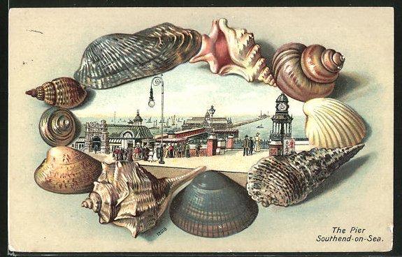 Passepartout-Lithographie Southend-on-Sea, The Pier, Muschelrahmen