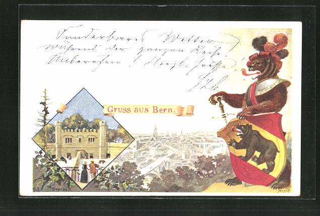 Künstler-AK Bern, Panorama und Bär in Ritterrüstung mit Wappenschild