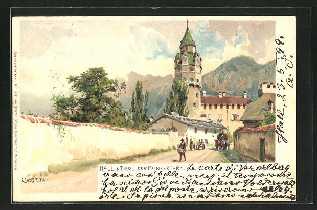 Künstler-AK Edward Harrison Compton: Hall, Strassenpartie am Münzerturm
