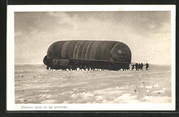 AK Militär-Ballon auf einer vereisten Ebene
