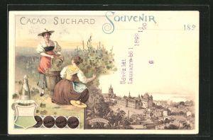 Lithographie Lausanne, Panorama, Cacao Suchard, Frauen bei der Weinlese, Wappen
