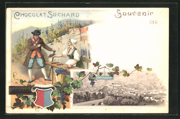 Lithographie Bellinzona, Panorama, Reklame Chocolat Suchard, Wappen Tessin
