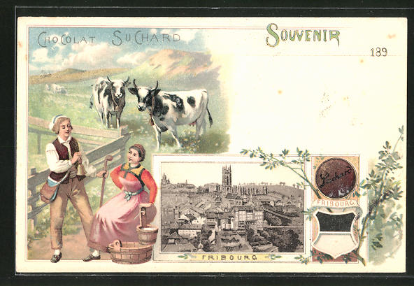 Lithographie Fribourg, Panorama, Reklame Chocolat Suchard, Milchbäuerin & Wappen